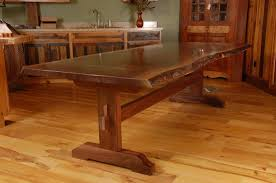 How To Make Kitchen Table Custom Made Live Edge Walnut Slab Trestle Dining Table Furniture