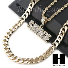 details about mens iced out bling savage pendant diamond cut 30 cuban chain necklace set g32