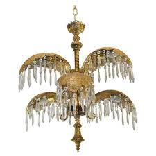 mid century italian six arm brass palm leaf crystal chandelier for