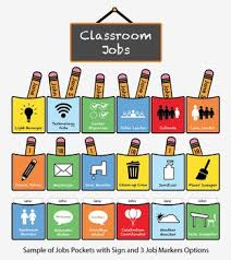 Elementary Classroom Jobs Chart Pocket Icons Customizable Job Markers K 6