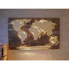 steel and wooden world map wall decor