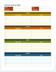 Free Potluck Template Sign Up Sheet Word Invitation