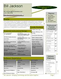1 Page Instructional Design Resume Trainer Bill S World Of