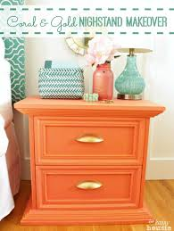 coral furniture. Tone-on-Tone Coral \u0026 Gold Distressed Nightstand Makeover | The Happy Housie Furniture F