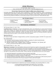 Industrial Mechanic Resume Automotive Technician Sample Machinery