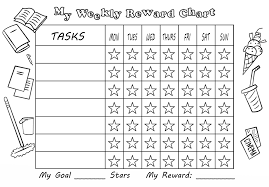 Black And White Reward Chart My Weekly Reward Chart With Stars Free Printable