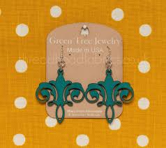 green tree chandelier earrings in teal