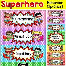 Classroom Management Chart Superhero Theme Behavior Clip Chart Classroom Management