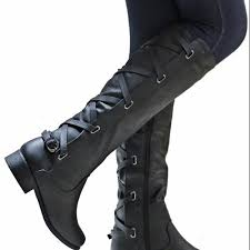 masorini fashion women pu leather knee high biker boots autumn winter female metal decoration low heel zip boots w 219 mens leather boots grey boots from