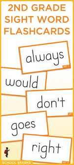 Free Second Grade Dolch Sight Word Flashcards Each Page