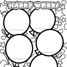 Small Picture Happy Words Coloring Page iMom