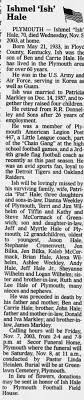 Ishmel Hale obit. News-Journal (Mansfield, OH). 6 Nov 2003, Thu. p8. -  Newspapers.com