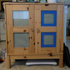 Portable Kitchen Pantry Furniture Blue Frame Glass Door Mixed Patterned Grey Curtain For Portable