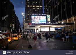 entrance to madison square garden at night new york city usa