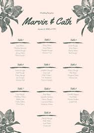 Canva Seating Chart Template Peach And White Floral Wedding Announcement Free Template
