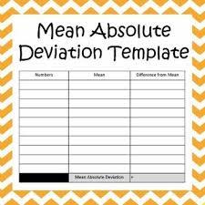 Mean Absolute Deviation Chart Mean Absolute Deviation Template Variability Math Work