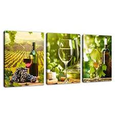 5% coupon applied at checkout save 5% with coupon. Yearainn Kitchen Canvas Art Grapes Wine Bottle Pictures For Dining Room Wall Decor 3 Pieces Canvas Art Fresh Style Fruits Themes Painti