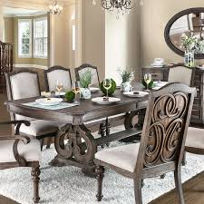 furniture of america dianne scrolled double pedestal rustic natural tone dining table with 18 inch