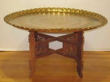 Vtg Moroccan Middle Eastern Brass Round Tray Top Coffee Table Folding Wood  Base