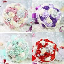 artificial wedding bouquets for wedding red purple green pink rose