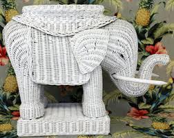 Vintage White Wicker Elephant Table