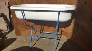 antique porcelain baby bath tub w folding stand vintage planter garden 5954