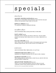 specials menu restaurant daily special menu letter daily special menus
