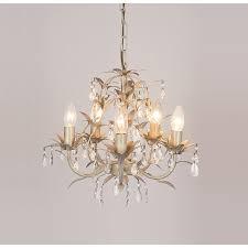 lavenham cream and clear glass 5 light chandelier
