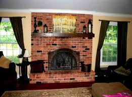 modern living room with brick fireplace. Fireplace \u0026 Accessories, A Red Brick Wall With Black Fences Dark Brown Shelf Modern Living Room