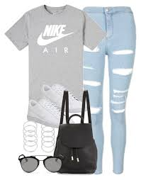 nike outfits. a fashion look from august 2016 featuring topshop jeans, nike shoes and rag \u0026 bone backpacks. browse shop related looks. nike outfits