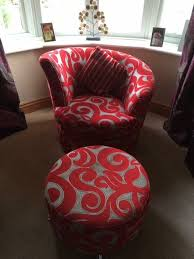dfs red and grey swirl corner sofa swivel chair and footstool set