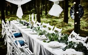 wedding table decorations ideas. A Forest Wedding Dining Table With White Tabletop, Lacycurtains As Tablecloth, Decorations Ideas