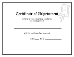 Printable Achievement Certificates Blank Award Certificate Template