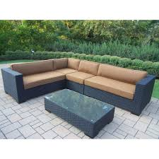 oakland living luxury all weather wicker patio sectional set with sunbrella cushions
