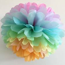 Paper Puff Ball Decorations Adorable PASTEL RAINBOW Tissue Paper Pompom Unicorn Party Decorations Etsy
