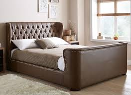 brussels brown bonded leather bed frame