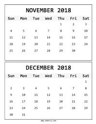 Online November December 2018 Calendar Printable Blank