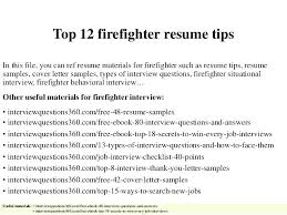 Resume Objective Tips Firefighter Resume Templates Free Firefighter Resume Examples Top 87