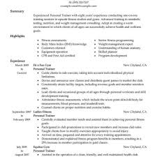 Create My Resume Personal Trainer Resume Sample Athletic Trainer