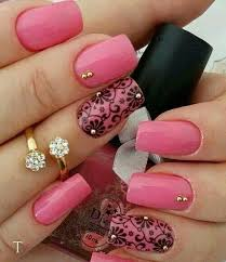 pretty pink nails with black flowers accent