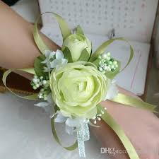 2018 wedding prom wrist corsage silk rose flower with ribbons white light green chagne rose red purple pink yellow from ceshi88 22 1 dhgate