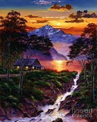 wilderness spirit by david lloyd glover acrylics on canvas mountains lake stream cabin