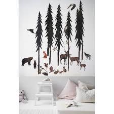 woodland set nursery wall decal wall art wall decor tree design ideas of wolf wall art