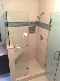 heres the new shower glass tile accent strip and soap shampoo niche all this in existing space strips stripe height tiles thumb quartz mosaic pan cutting