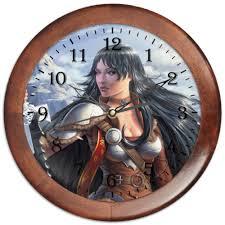 Часы круглые из дерева Дева-воительница 01 #2582728 от ...