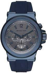 men s michael kors dylan blue silicone strap chronograph watch mk8493