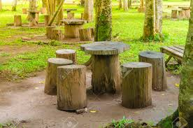 Tree Stump Seats Stumps Seats In The Park Garden Furniture Made From Wooden Log