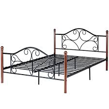 Costway Queen Size Steel Bed Frame Platform Stable Metal Slats Headboard Footboard Black