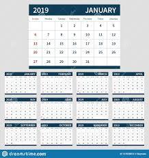 Calendar Planner 2019 Template Set Of 12 Month Stock Vector