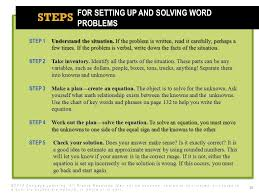 for setting up and solving word problems